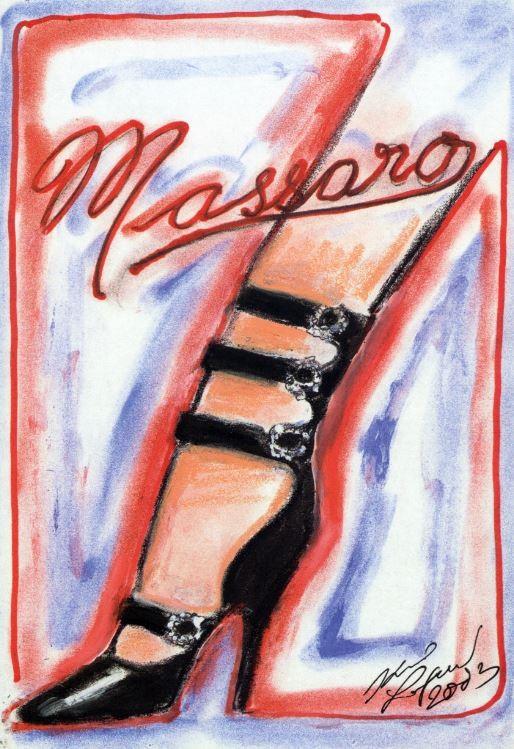 Dessin de Karl Lagerfeld pour l'affiche de l'exposition hommage à Massaro