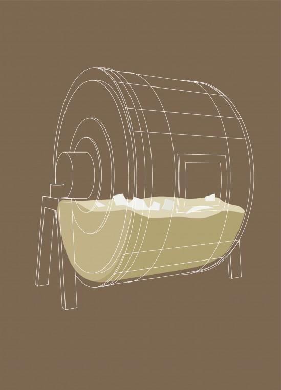 Les peaux sont remises dans des foulons contenant des tanins et des matières grasses pour subir un léger retannage.