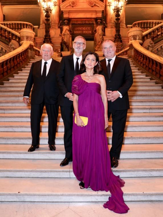 La famille réunie pour les 70 ans de Longchamp : Philippe Cassegrain, Jean Cassegrain, Olivier Cassegrain et Sophie Delafontaine.
