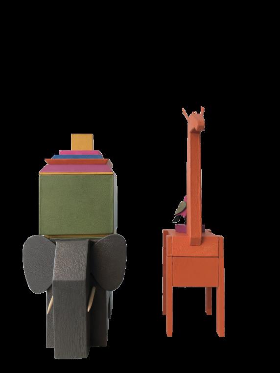 ATELIER PHILIPPE MARTIAL, boîtes éléphants et girafe, gainées de cuir, 2017
