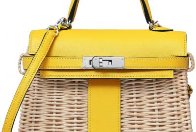 Sac Kelly mini picnic réalisée en osier et cuir de veau par Hermès et la Vannerie de Villaines-les-Rochers.