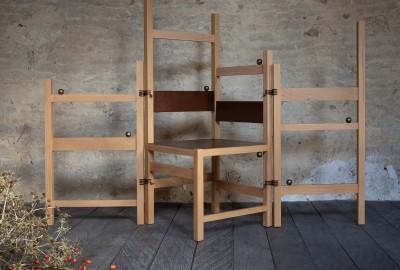 La chaise-paravent Verdurin d'Anthony Guerrée appartient à la série « Les assises du temps perdu ».